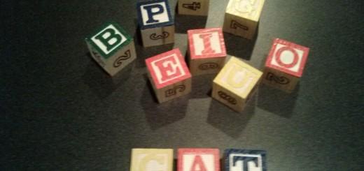 Alpha blocks and word 'cat'